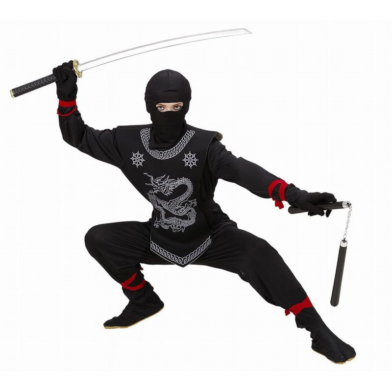 89bca892542e Widmann 74526 - Kostým Ninja čierny s hadom 128 S