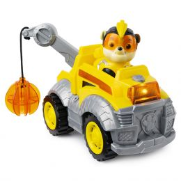 Paw Patrol 6054650 Mighty Pups Super paws - Tlapková hliadka Rubble s demolačným autom so zvukom a svetlom