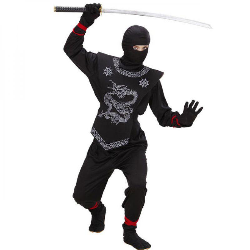 8c72f6e6fec3 Widmann 74527 - Kostým Ninja čierny s hadom 140 M